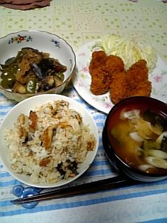夕飯:カキフライ&あなごご飯
